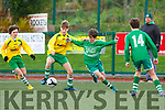 Ryan O'Neill Killarney Celtic takes on the Shelbourne defence  in the FAI cup in Celtic Park on Saturday