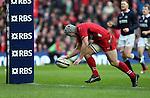 Jonathan Davies of Wales scores a try - RBS 6Nations 2015 - Scotland  vs Wales - BT Murrayfield Stadium - Edinburgh - Scotland - 15th February 2015 - Picture Simon Bellis/Sportimage