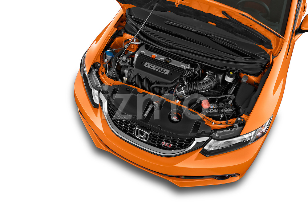 Car stock 2015 Honda Civic Si 4 Door Sedan engine high angle detail view