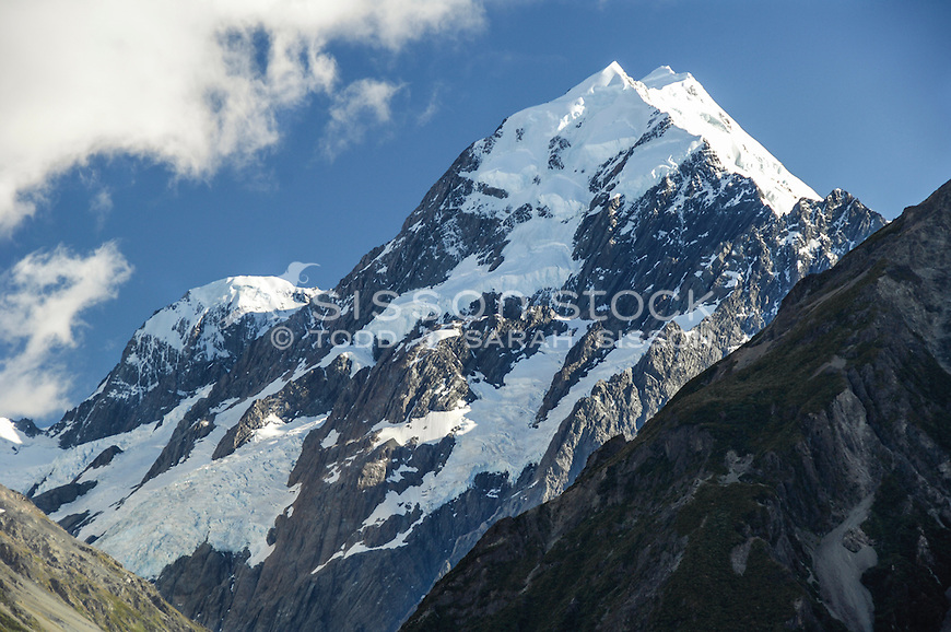 Close up view of Aoraki / Mount Cook peak from The Hermitage Hotel,