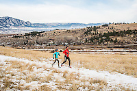 Runners Yusuke Kirimoto and his daughter Sara Kirimoto (age 10) run along the Marshall Mesa Trail in Boulder, Colorado, Saturday, December 10, 2016. Inspired by his daughter, Yusuke has lost over 100lbs through running. <br /> <br /> Photo by Matt Nager