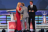 David Beckham greets FIFA general secretary Jerome Valcke and Charlize Theron during the FIFA Final Draw for the FIFA World Cup 2010 South Africa held at the Cape Town International Convention Centre (CTICC) on December 4, 2009