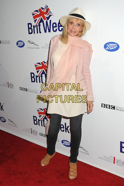 Britt Ekland.BritWeek 2012 Official Launch held at a Private Residence, Los Angeles, California, USA..April 24th, 2012.full length top jacket jeans denim white fedora hat pink scarf.CAP/ADM/BP.©Byron Purvis/AdMedia/Capital Pictures.