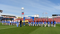 FRISCO, TX - MARCH 11: England and Spain standing during their respective Nation Anthems during a game between England and Spain at Toyota Stadium on March 11, 2020 in Frisco, Texas.