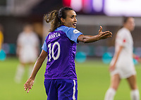 WASHINGTON, DC - AUGUST 24: Marta #10 of the Orlando Pride yells at the referee during a game between Orlando Pride and Washington Spirit at Audi Field on August 24, 2019 in Washington, DC.