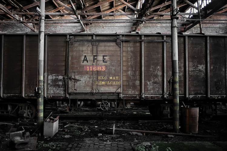 AFE | Administracion de Ferrocarriles del Estado (state railroad administration for its acronym in spanish).  Abandoned wagon in the garages of Penarol neighborhood in Montevideo, Uruguay.