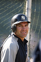 OAKLAND, CA - JUNE 11:  Johnny Damon of the New York Yankees takes batting practice before the game against the Oakland Athletics at the McAfee Coliseum in Oakland, California on June 11, 2008.  The Athletics defeated the Yankees 8-4.  Photo by Brad Mangin
