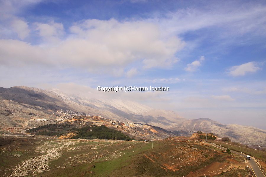 Golan Heights, a view of Majdal Shams and Mount Hermon from Nimrod
