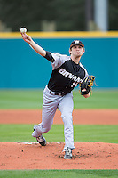 Bryant Bulldogs starting pitcher Kyle Wilcox (15) delivers a pitch to the plate against the Coastal Carolina Chanticleers at Springs Brooks Stadium on March 13, 2015 in Charlotte, North Carolina.  The Chanticleers defeated the Bulldogs 7-2.  (Brian Westerholt/Four Seam Images)