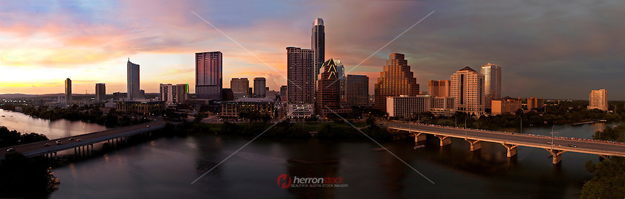 Austin Skyline Sunset over Lady Bird Lake at Dusk, Panoramic image.