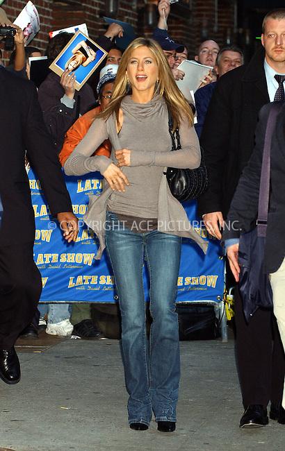 WWW.ACEPIXS.COM . . . . . ....November 7 2005, New York City....Jennifer Aniston at The Late Show with David Letterman. ....Please byline: AJ Sokalner - ACE PICTURES..... *** ***..Ace Pictures, Inc:  ..Philip Vaughan (212) 243-8787 or (646) 769 0430..e-mail: info@acepixs.com..web: http://www.acepixs.com