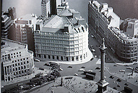 "London: Trafalgar Square Grand Buildings--Model. Sidell Gibson Partnership's winning entry. ""Not wholly unexpected in today's traditional climate. ARCH. DIG. 56--4-86, P.27."