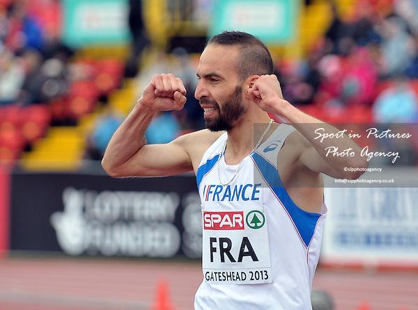 Bouabdellah Tahri (FRA) celebrates. Mens 3000m. Day 2. European Team Athletics Championships. Gateshead. Tyne and Wear. UK. 23/06/2013. <br />  MANDATORY Credit Garry Bowden/SIPPA - NO UNAUTHORISED USE - 07837 394578