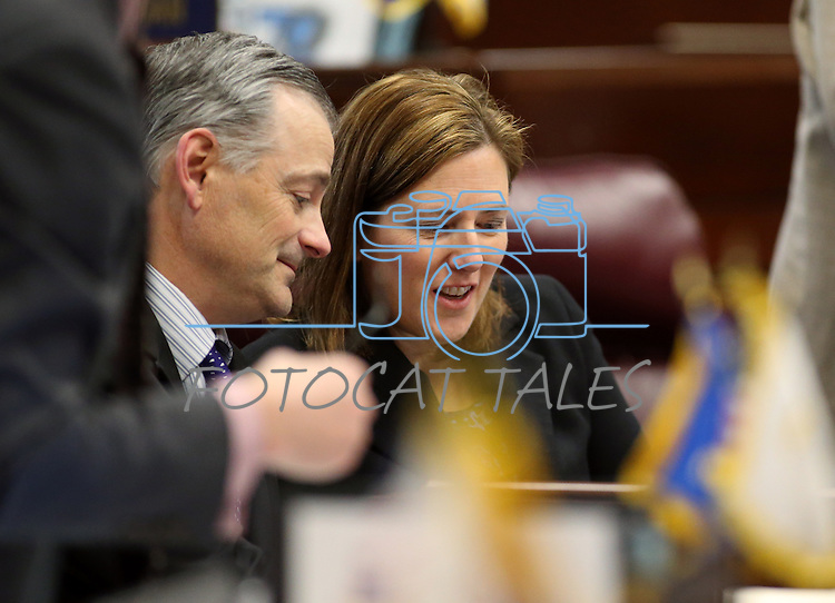 Nevada Senate Republicans James Settelmeyer and Becky Harris work on the Senate floor at the Legislative Building in Carson City, Nev., on Tuesday, April 7, 2015. <br /> Photo by Cathleen Allison