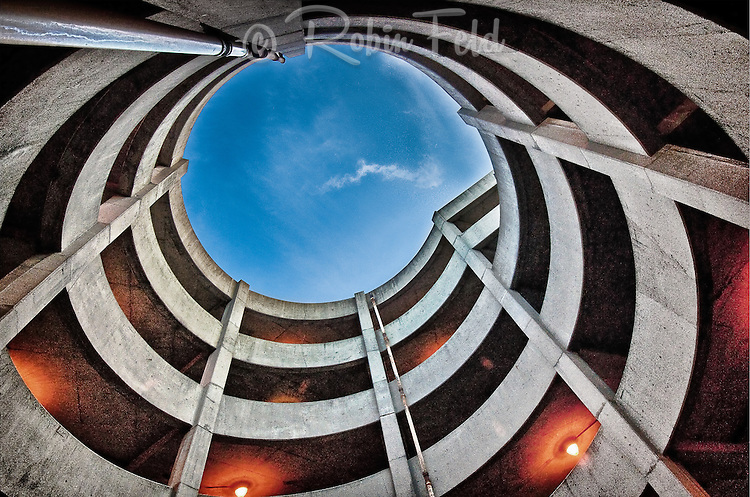 Inside curves of parking garage structure, architectural photo, concrete structure, urban & architectural abstract, AIA architecture photo contest 2011