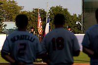 The American Flag is presented prior to a game between the North All-Stars and the South All-Stars 2011 in the Texas League All-Star game at Nelson Wolff Stadium on June 29, 2011 in San Antonio, Texas. (David Welker / Four Seam Images)
