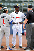 Huntsville Stars manager Darnell Coles #11 before a game against the Tennessee Smokies on April 16, 2013 at Joe W Davis Municipal Stadium in Huntsville, Alabama.  Tennessee defeated Huntsville 4-3.  (Mike Janes/Four Seam Images)