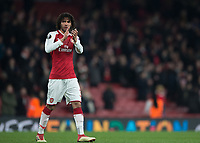 Mohamed Elneny of Arsenal applauds the fans during the UEFA Europa League round of 16 2nd leg match between Arsenal and AC Milan at the Emirates Stadium, London, England on 15 March 2018. Photo by Vince  Mignott / PRiME Media Images.