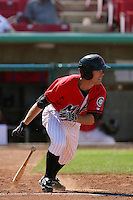 May 16, 2010: Jake Shaffer of the High Desert Mavericks during game against the Stockton Ports at Mavericks Stadium in Adelanto,CA.  Photo by Larry Goren/Four Seam Images