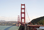 The Golden Gate Bridge as seen from the Vista Point Overlook area in San Francisco, California.