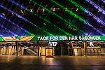 Stockholm 2015-10-25 Fotboll Allsvenskan Hammarby IF - Malm&ouml; FF :  <br /> Fasad p&aring; Tele2 Arena med texten &quot; Tack f&ouml;r den h&auml;r s&auml;songen &quot; p&aring; ljustavla efter matchen mellan Hammarby IF och Malm&ouml; FF <br /> (Foto: Kenta J&ouml;nsson) Nyckelord:  Fotboll Allsvenskan Tele2 Arena Hammarby HIF Bajen Malm&ouml; FF MFF utomhus exteri&ouml;r exterior