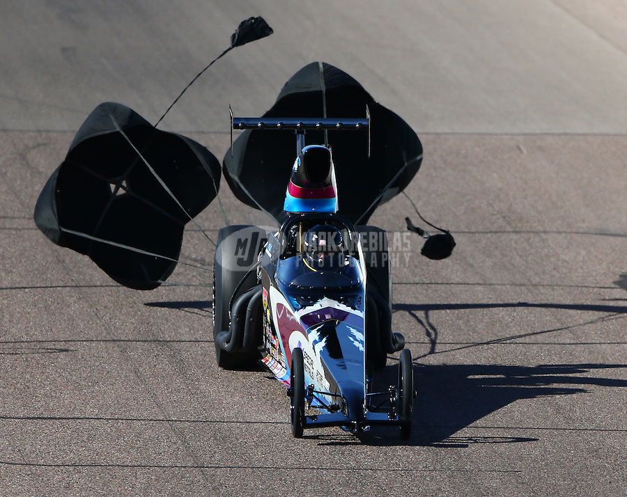Feb 26, 2016; Chandler, AZ, USA; NHRA top dragster driver Phil Unruh during qualifying for the Carquest Nationals at Wild Horse Pass Motorsports Park. Mandatory Credit: Mark J. Rebilas-