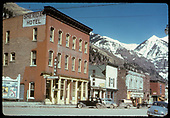 Downtown Telluride main street scene with the Sheridan Hotel prominent.<br /> Telluride, CO  Taken by August, Irving - 4/15/1949