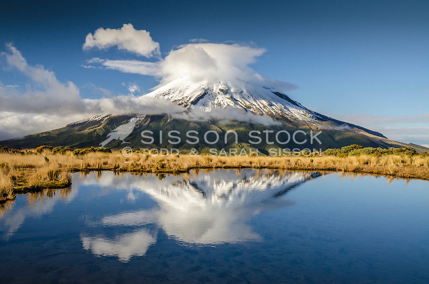 Mount Taranaki, Pouakai tarn reflection, New Zealand - stock photo, canvas, fine art print