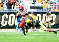 06 September 08: Eastern Washington wider receiver Tony Davis carries the ball against Colorado. Tackling Davis on the play is Colorado cornerback Jalil Brown. The Colorado Buffaloes defeated the Eastern Washington Eagles 31-24 at Folsom Field in Boulder, Colorado. FOR EDITORIAL USE ONLY