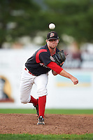 Batavia Muckdogs pitcher Jordan Hillyer (47) delivers a pitch during the first game of a doubleheader against the Vermont Lake Monsters August 11, 2015 at Dwyer Stadium in Batavia, New York.  Batavia defeated Vermont 6-0.  (Mike Janes/Four Seam Images)