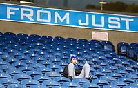 A Blackburn Rovers fan waits for kick off<br /> <br /> Photographer Alex Dodd/CameraSport<br /> <br /> The EFL Sky Bet Championship - Blackburn Rovers v Queens Park Rangers - Saturday 3rd November 2018 - Ewood Park - Blackburn<br /> <br /> World Copyright &copy; 2018 CameraSport. All rights reserved. 43 Linden Ave. Countesthorpe. Leicester. England. LE8 5PG - Tel: +44 (0) 116 277 4147 - admin@camerasport.com - www.camerasport.com