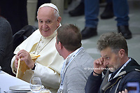 Pope Francis has lunch with guests  at the Paul VI audience hall in Vatican, to mark the World Day of the Poor.on November 17, 2019,