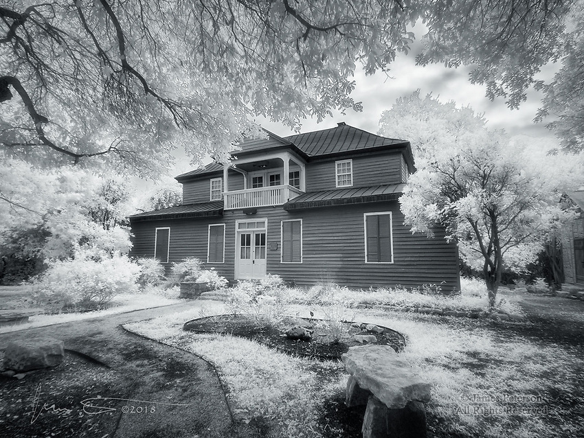 Baetge House, New Braunfels, Texas (Infrared) ©2018 James D Peterson.  Built in 1852, this historic home is the oldest two story house in all of Texas and was the grandest house in Comal county when it was built.  It is now located in the New Braunfels Conservation Plaza, a remarkable historic park created to preserve and promote the history and heritage of New Braunfels.