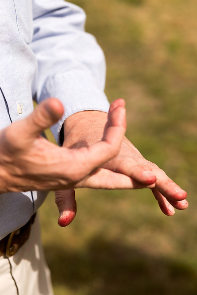 April 20, 2016. Rowland, North Carolina. <br />  Bo Stone explains the way in which he picks which corn seeds he will choose to plant on his 2300 acre farm. The red stains on his fingers come from picking strawberries earlier in the day.<br />  Bo Stone, age 44, runs a 2300 acre farm near the South Carolina border. After 5 generations of tobacco farming, Stone helped to move his family farm over to corn, wheat, soybeans, and strawberries 7 years ago. <br />  While his corn crop is entirely made up of stacked genetically modified strains of corn, Stone says he chose the varieties primarily for their yield characteristics, but having the ability to utilize their herbicide tolerant traits if a weed gets out of control is &quot;another tool in my toolbox&quot;.