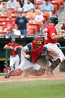 July 20th 2008:  Catcher Clint Sammons of the Richmond Braves, Class-AAA affiliate of the Atlanta Braves, during a game at Dunn Tire Park in Buffalo, NY.  Photo by:  Mike Janes/Four Seam Images
