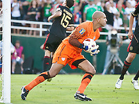 PASADENA, CA – June 25, 2011: USA goalie Tim Howard (1) makes a save during the Gold Cup Final match between USA and Mexico at the Rose Bowl in Pasadena, California. Final score USA 2 and Mexico 4.