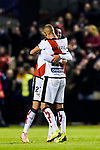 Jose Angel Pozo de la Rosa of Rayo Vallecano celebrates with teammate for scoring during the La Liga 2018-19 match between Rayo Vallecano and FC Barcelona at Estadio de Vallecas, on November 03 2018 in Madrid, Spain. Photo by Diego Gouto / Power Sport Images