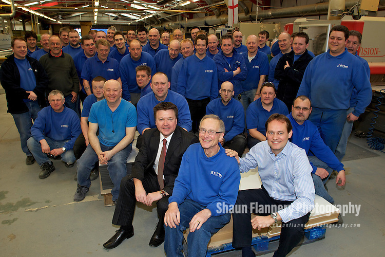 Pix: Shaun Flannery/shaunflanneryphotography.com...COPYRIGHT PICTURE>>SHAUN FLANNERY>01302-570814>>07778315553>>..30th March 2011.............Robert Fox retires from Sheffield based Birley Manufacturing  Ltd after 48 years and 6 months of service..Michael Barlow, right, owner of the company and Managing Director Steve English pictured with work mates.