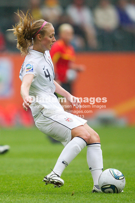 MOENCHENGLADBACH, GERMANY - JULY 13:  Becky Sauerbrunn of the United States passes the ball during a FIFA Women's World Cup semifinal soccer match against France at Stadion im Borussia Park on July 13, 2011  in Moenchengladbach, Germany.  Editorial use only.  Commercial use prohibited.  No push to mobile device usage.  (Photograph by Jonathan P. Larsen)