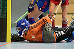 GER - Mannheim, Germany, December 19: During the 1. Bundesliga Sued Damen indoor hockey match between Mannheimer HC (blue) and Nuernberger HTC (red) on December 19, 2015 at Irma-Roechling-Halle in Mannheim, Germany. (Photo by Dirk Markgraf / www.265-images.com) *** Local caption *** +t1+