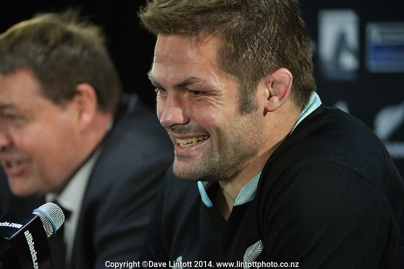 Richie McCaw is all smiles at the post-match media conference after The Rugby Championship match between the New Zealand All Blacks and Australia Wallabies at Eden Park, Auckland, New Zealand on Saturday, 23 August 2014. Photo: Dave Lintott / lintottphoto.co.nz