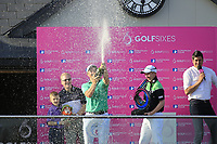 Team Ireland / Paul Dunne &amp; Gavin Moynihan at the prize giving ceremony during the GolfSixes played at The Centurion Club, St Albans, England. <br /> 06/05/2018.<br /> Picture: Golffile | Phil Inglis<br /> <br /> <br /> All photo usage must carry mandatory copyright credit (&copy; Golffile | Phil Inglis)