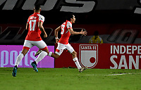 BOGOTÁ-COLOMBIA, 20-10-2019: Fabián Sambueza de Independiente Santa Fe, corre a celebrar el segundo gol anotado de su equipo a Unión Magdalena, durante partido de la fecha 18 entre Independiente Santa Fe y Unión Magdalena, por la Liga Águila II 2019, jugado en el estadio Nemesio Camacho El Campín de la ciudad de Bogotá. / Fabián Sambueza of Independiente Santa Fe runs to celebrate the second scored goal from his team to Union Magdalena, during a match of the 18th date between Independiente Santa Fe and Union Magdalena, for the Aguila Leguaje II 2019 played at the Nemesio Camacho El Campin Stadium in Bogota city, Photo: VizzorImage / Luis Ramírez / Staff.