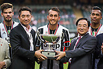 Juventus' player Roberto Pereyra receives the cup after winning the South China vs Juventus match of the AET International Challenge Cup on 30 July 2016 at Hong Kong Stadium, in Hong Kong, China.  Photo by Marcio Machado / Power Sport Images