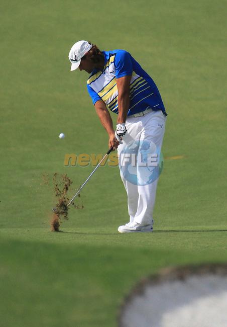 Dubai World Championship Golf. Earth Course,.Jumeirah Golf Estate, Dubai, U.A.E...John Edfors playing his second shot from the fairway on the 5th during the second round of the Dubai World Golf championship..Photo: Fran Caffrey/www.golffile.ie...