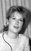 Meryl Streep receiving an award from Women's Action for Nuclear Disarmament at the Park Plaza Hotel 5.13.84 Boston MA