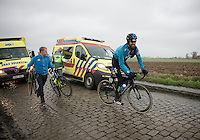 Sir Bradley Wiggins (GBR/Sky) can't but crack a smile at passing safely where others crash, blown off their bikes by the wind<br /> <br /> 77th Gent-Wevelgem 2015