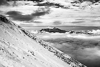 Black and white photo of Illiniza Norte and Illiniza Sur Volcanoes, seen from Cotopaxi Volcano, Ecuador