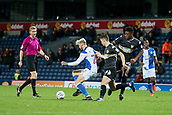 3rd October 2017, Ewood Park, Blackburn, England; Football League Trophy Group stage, Blackburn Rovers versus Bury; Blackburns Ben Gladwin (22) on the ball is tackled by Bury's Callum Reilly and Rohan Ince