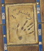 Hand print of the singer, Serge Gainsbourg, outside the Palais des Festivals et des Congres, Cannes, France.